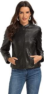 Escalier Women's Faux Leather Jacket Zip Up Moto Biker Coat
