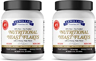 Lewis Labs Nutritional Yeast Flakes,NON-Fortified, NON-GMO, Plant Based Protein, Vegan Cheese Powder Substitute, Delicious...
