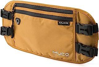 MUCO Travel Money Belt, Hidden Passport Holder, RFID Blocking Travel Wallet Belt Men and Women