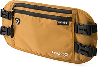 MUCO Travel Money Belt, Hidden Passport Holder, RFID Blocking Travel Wallet Belt Men and Women