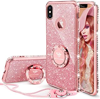 Cute iPhone Xs Case, Cute iPhone X Case, Glitter Bling Diamond Rhinestone Bumper with Ring Grip Kickstand Protective Thin Girly Pink iPhone Xs Case/iPhone X Case for Women Girl - Rose Gold Pink