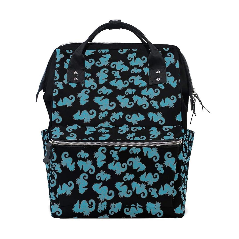 Black And Blue Seahorse School Backpack Large Capacity Mummy Bags Laptop Handbag Casual Travel Rucksack Satchel For Women Men Adult Teen Children