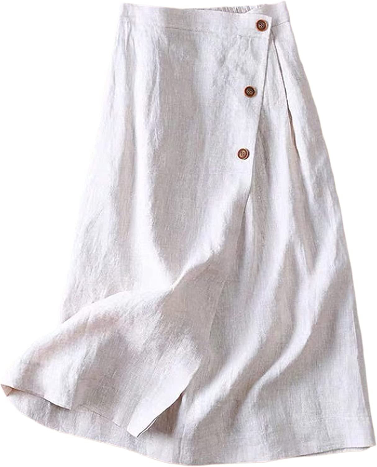 Yimoon Women's Casual Relaxed Cotton Linen Button A-Line Flared Midi Skirts