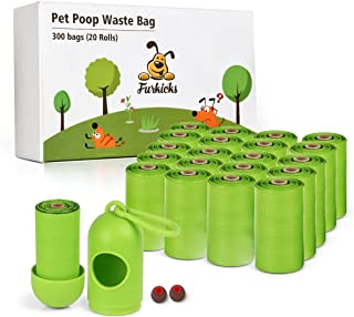 Furkicks 20 Pack 300 Counts Poop Bag, Dog Waste Bags, Earth-Friendly Compostable Disposal Leak Proof Bags with Dispenser & Rubber Ring to Return of Bags (9x13 Inches)