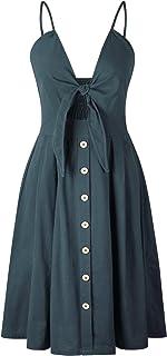7TECH Sexy Halter Button Halter Bow Dress, Cyan