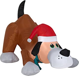 Airblown Inflatable Playful Puppy Dog wIth Santa Hat by Gemmy