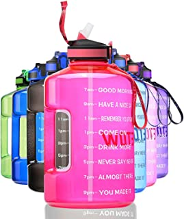 ETDW Gallon Motivational Water Bottle with Straw BPA Free, 3.78Litre Daily Water Intake Bottle with Time Marker 3.78L Wate...
