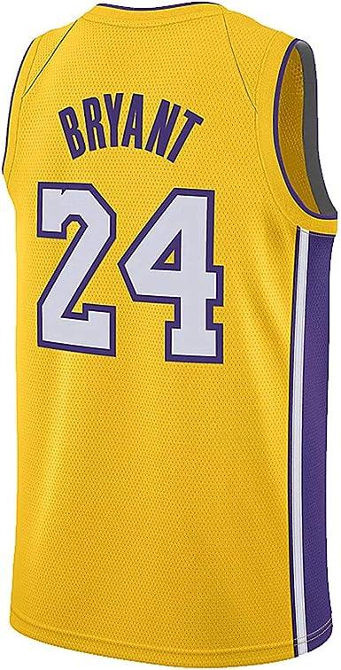 Kswfth Men's Bryant Jersey Los Angeles 24 Kobe Yellow (Large ...