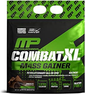 MusclePharm Combat XL Mass-Gainer Powder, Weight Gainer Protein Powder, 1270 Calories per Serving, 50 Grams of Protein, MCTS Flax and Chia Seeds, Chocolate, 12-Pounds
