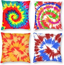 LOKIDVE 4 Pack Decorative Square Throw Pillow Cases Rainbow Tie Dye Cushion Cover for Home Sofa Couch Bed Car 18 X 18 Inch