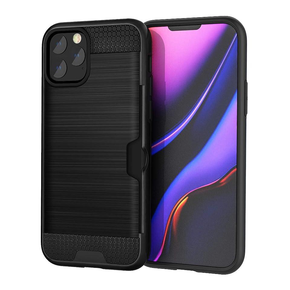 iPhone 11 Pro ケース ATiC iPhone 11 Pro カバー 5.8インチ iPhone 新型 2019 TPU+PC 二重構造 名刺カードスロット付き 耐衝撃 通気性 滑り防止 ハードケース スマホ保護カバー Black