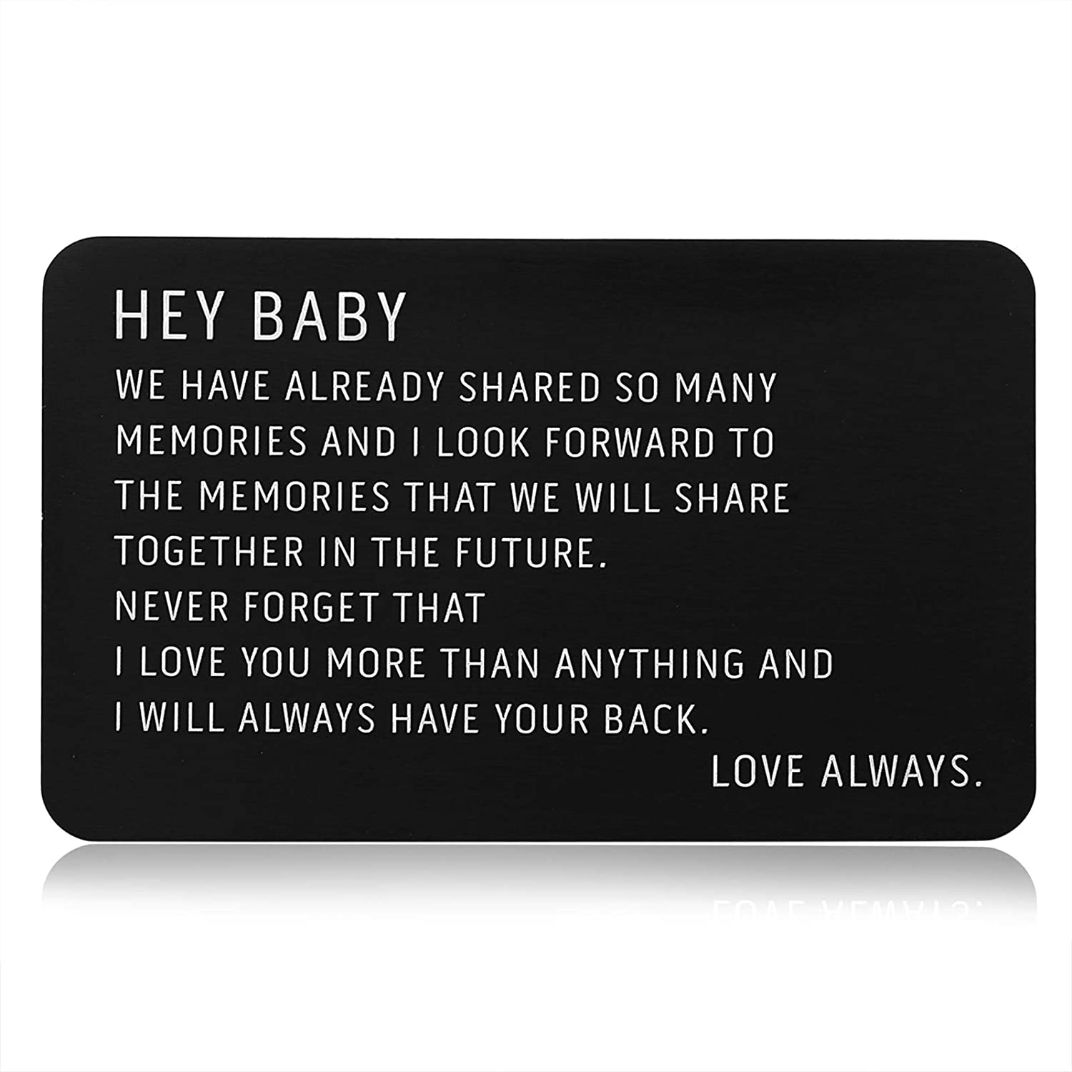 Engraved Metal Wallet Insert Card Black Anniversary Card Gifts for Him Boyfriend Husband Gifts Wife Girlfriend Men Valentines Christmas Birthday Deployment Wedding Gifts Fiance I Love You Note Cool
