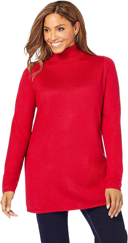 Jessica London Women's Plus Size Cotton Cashmere Turtleneck Sweater