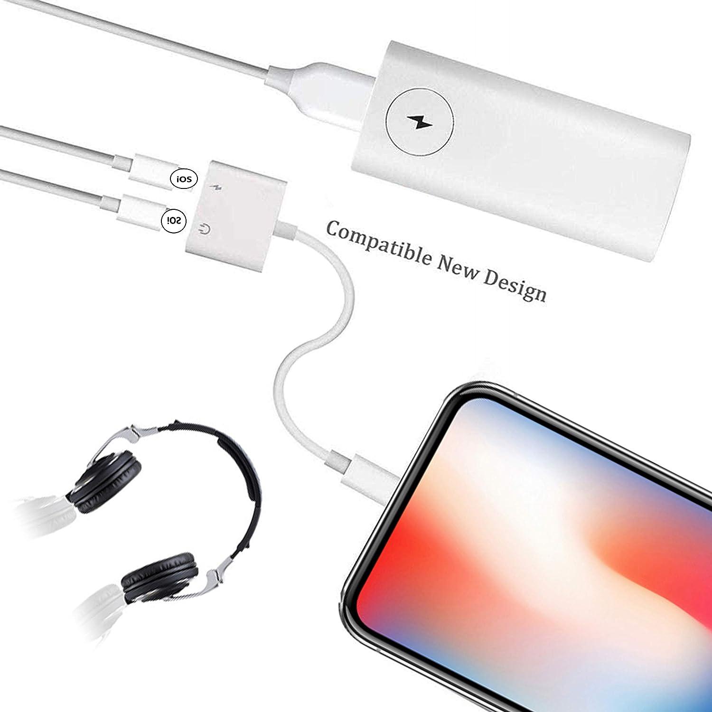 Bianco Adattatore per cuffie per iPhone 11 Dongle Convertitore da 3,5 mm Cavo splitter Jack Accessori ausiliari per iPhone11 Pro//11//7//7 Plus//8//8 Plus //Xs//Xs Max//XR//X Supporta tutti i sistemi iOS
