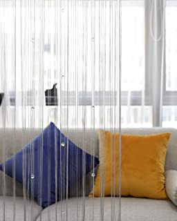 Lewondr Beaded String Curtain, Decorative Crystal Clear Beads Curtain Window Sheer Strip Blind Door Panel Fringe Room Divider for Doorway House Coffee 39x79 Inch(100x200 cm) - Gray