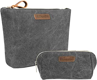 HOYOFO 2 in 1 Cosmetic Bag Set Daily Cosmetics Pouch for Women Travel Floral Makeup Storage, Grey
