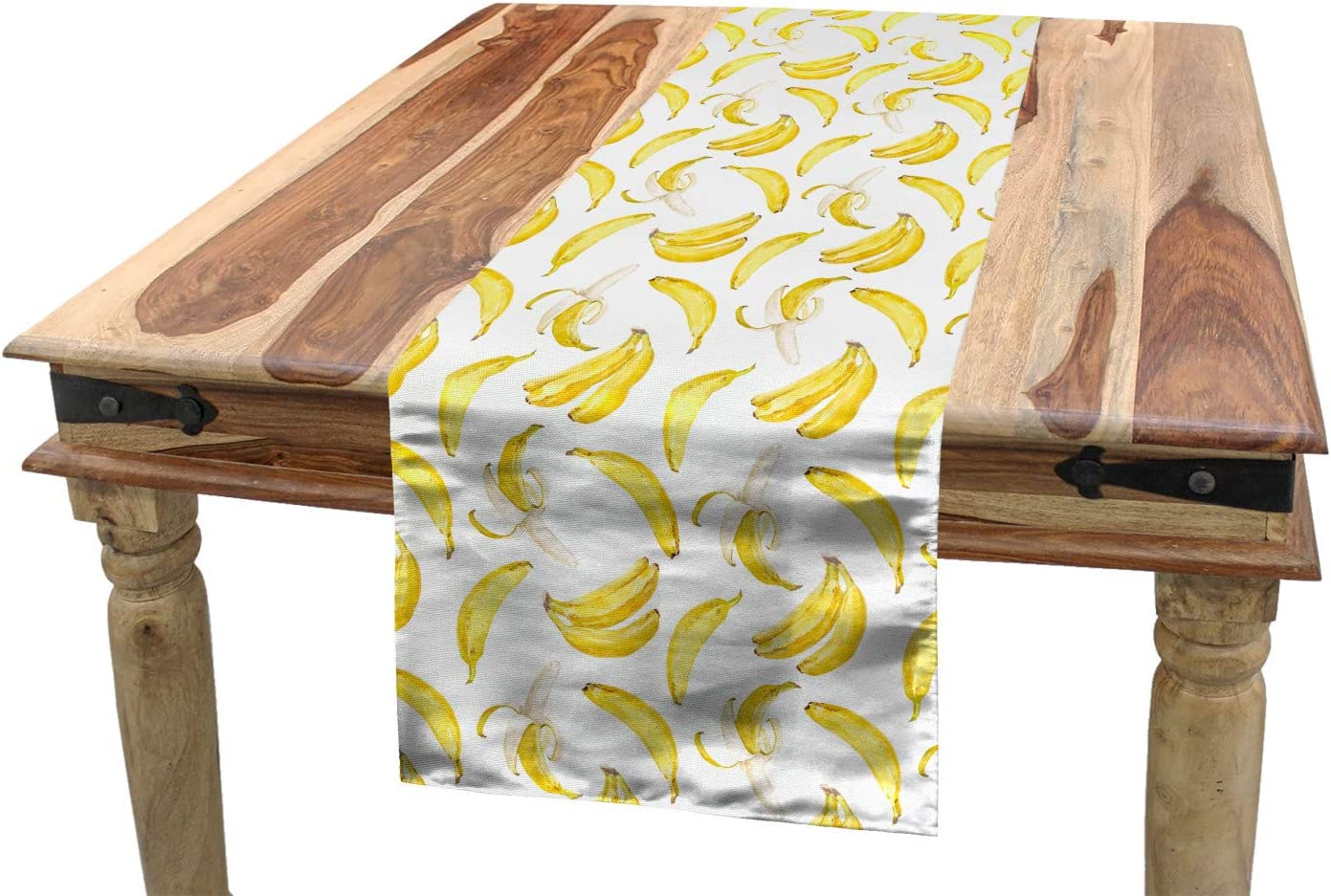 Amazon.com Ambesonne Banana Table Runner, Repeated Pattern ...