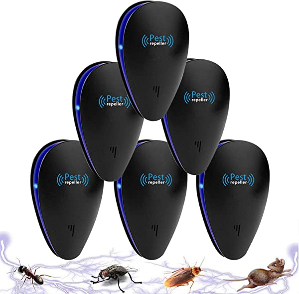 Tomu Ultrasonic Pest Repeller For Bugs And Insects Mice Repellent To Repel And Prevent Mouse Ant Mosquito Spider Rodent Roach Child And Pets Safe Control 6 Black Packs