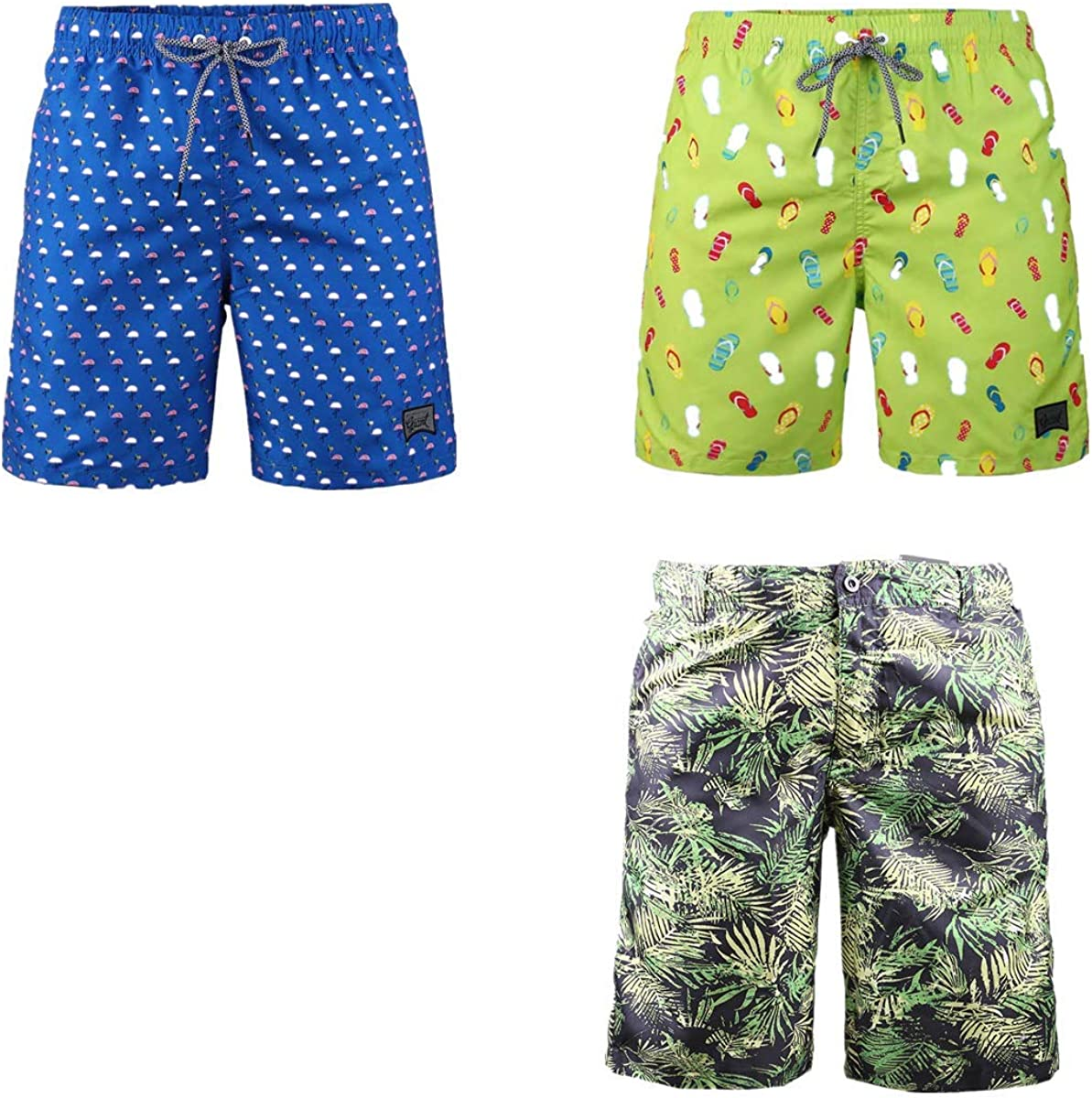 Beautiful Giant Cheap 3-Pack Men's Elastic Miami Mall Board Casual S Shorts Waist