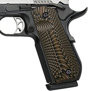 Cool Hand 1911 Full Size G10 Grips, Bobtail Round Butt Cut, Mag Release, Ambi Safety Cut, Sunburst Texture