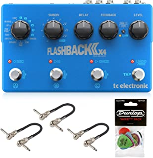 TC Electronic Flashback 2 X4 Delay and Looper Pedal Bundle with 3 MXR Patch Cables and Dunlop Pick Pack
