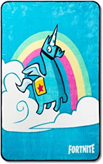 Fortnite Bright Unicorn Throw - Measures 46 x 60 inches, Kids Bedding Features The Fortnite Llama - Fade Resistant Super Soft Fleece - (Official Fortnite Product)