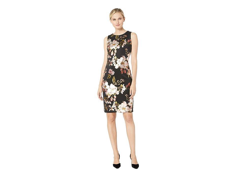 eci Foil Printed Sleeveless Dress (Black/Blush) Women