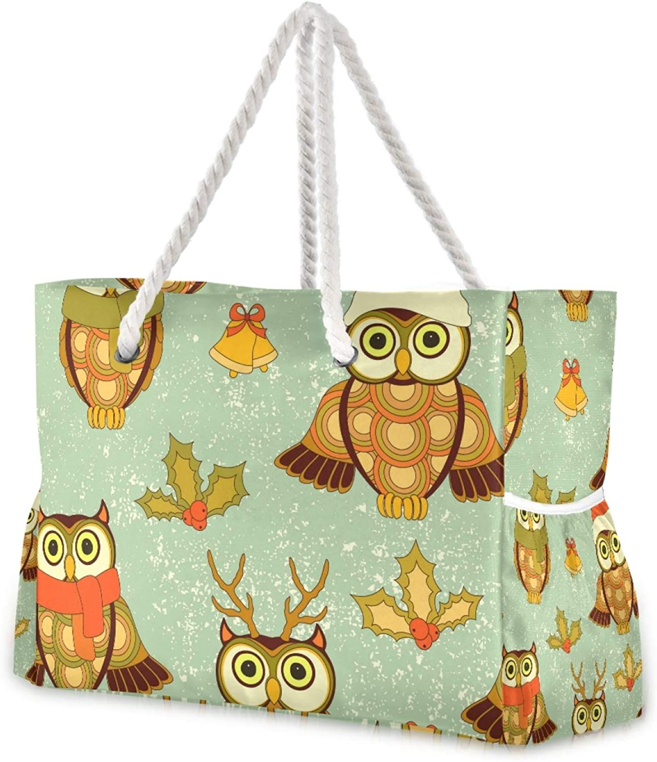 At the price Cute Christmas Owls Virginia Beach Mall Large Tote Bag Gym Shoulder Tr for