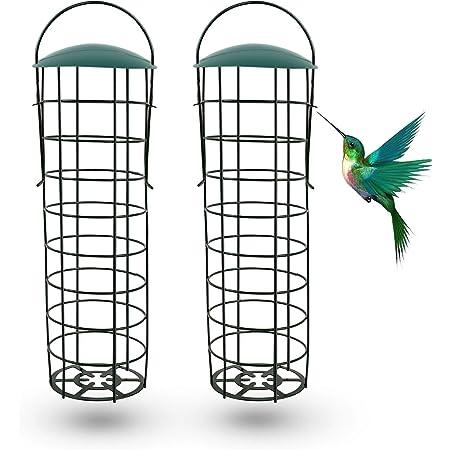 Ulikey Mangeoires pour Oiseaux Sauvages, Mangeoire À Oiseaux, Mangeoire Oiseaux Exterieur, Mangeoire à Oiseaux Distributeur Suspendu, Distributeur de Nourriture pour Jardin Oiseaux (2pcs)