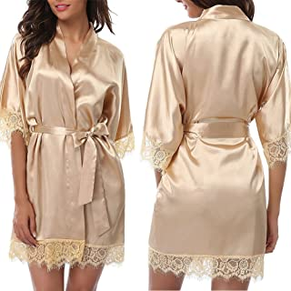 8f59108a0b Gaonana Women s Pure Color Kimono Robes Satin Robe Nightwear Bridesmaids Short  Sleepwear