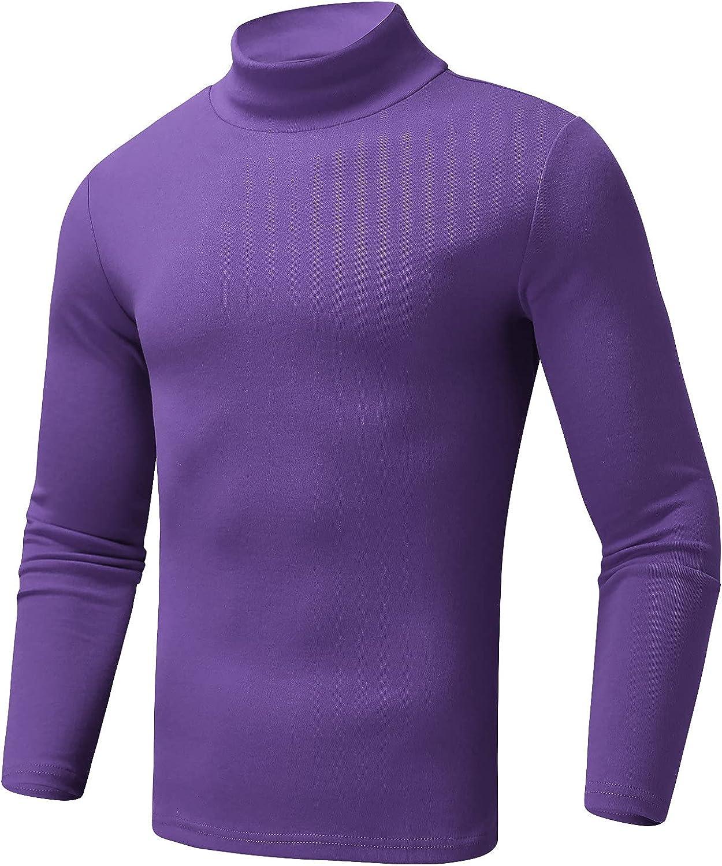 HONGJ Mock Neck Pullover for Mens, 2021 Fall Elastic Cotton Slim-Fit Solid Color Turtleneck Basic Tops Warm Undershirt