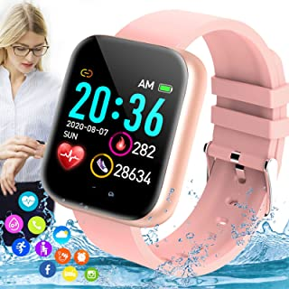 iFuntecky Smart Watch, Bluetooth Smartwatch for Android Phones, Ip67 Waterproof Fitness Watch with Blood Pressure Heart Rate Sleep Monitor Pedometer Calorie Compatible for Samsung iOS Women Men