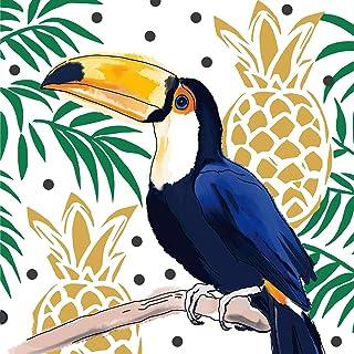 Home Collection Maison Cuisine Set 40 Serviettes de Table Jetables 3 Plis Motif Toucan Tropicaux Ananas