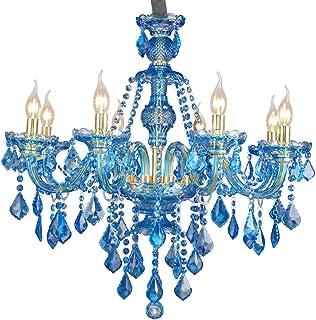 Araña De Cristal Color Azul Lámpara De Techo De Vidrio Moderno Lujo Colgante De Luz Salón Lámpara Colgante Comedor Plafón Iluminación 8 Luces