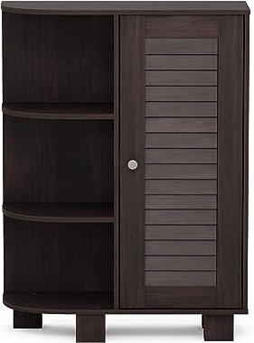 Furinno Indo Storage Shelf Louver Door Cabinet, Espresso