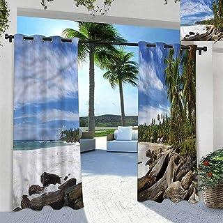 ScottDecor Beach Patio Curtains Terrace Near Bushes and Villa Yard Mighty Shores of Sri Lanka 84