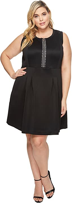 MICHAEL Michael Kors - Plus Size Rhinestone Zip Flare Dress