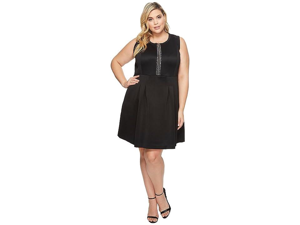 MICHAEL Michael Kors Plus Size Rhinestone Zip Flare Dress (Black) Women