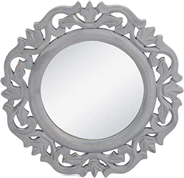 """The Urban Store Wood Hand Crafted Wall Mirror for Living Room, 14""""X14"""" (Grey)"""
