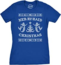Womens Mer-Ry-Maid Christmas Funny Mermaid Holiday Ugly Sweater T Shirt
