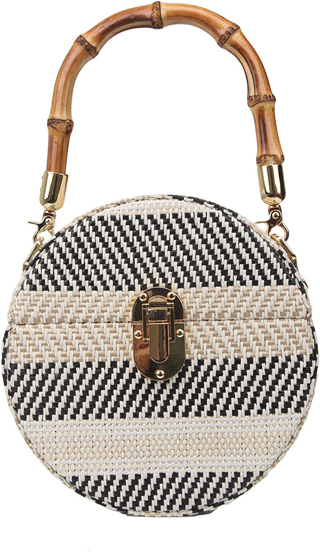 Bonjanvye Bamboo Handle Weave Box Clutch Women Evening Bag