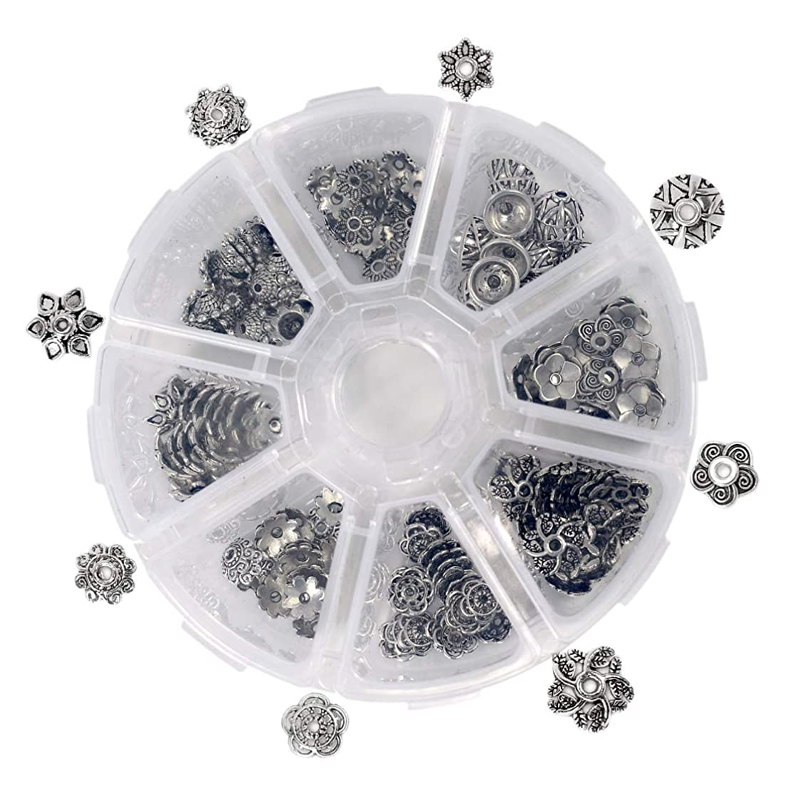 ZIIYAN 160 Pcs Antique Tibetan Silver Alloy Flower Petal Bead Caps Spacers Jewelry Making End Caps, 8-Style, 20 Pcs per Style