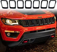 XBEEK Clip-in Grille Cover Grill Ring Inserts Frame Trims Kit for 2017-2019 Jeep Compass (Tape on - Black)