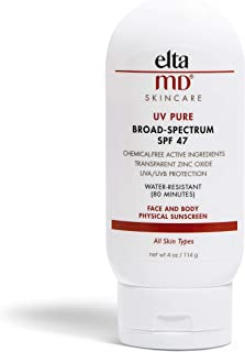 EltaMD UV Pure Kids Sunscreen Broad-Spectrum SPF 47, Mineral Body Lotion Sunscreen, Water-Resistant, Zinc Oxide, Oil free, 4.0 oz
