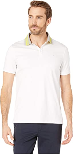 Short Sleeve Contrast Striped Collar Three-Button Polo