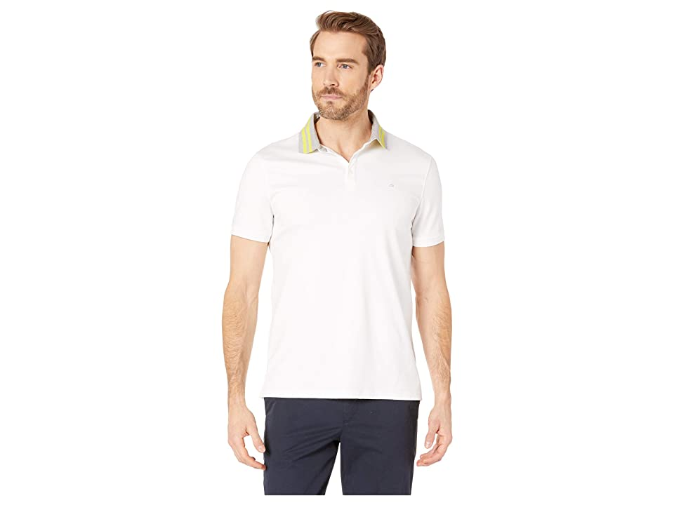 Calvin Klein Short Sleeve Contrast Striped Collar Three-Button Polo (White Combo) Men