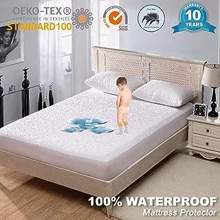 Fignaive Mattress Protector Premium Hypoallergenic 100% Waterproof Bed Deep Pocket Mattress Cover Anti-Bed Bug Dust Mite Proof Organic Mattress Encasement Vinyl Free Twin Size