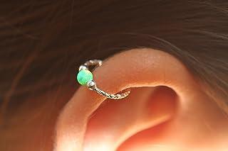 Cartilage Earring Hoop - 20G Sterling Silver helix piercing ear ring - Green opal cartilage earring, silver cartilage hoop