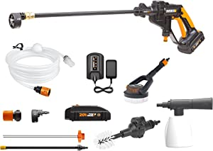 WORX 20V Cordless Pressure Washer, Portable Power Hydroshot Cleaner w/ Accessories, Battery & Charger, Suitable for Car Washing & Surface Cleaning w/ 5-in-1 Adjustable Nozzle