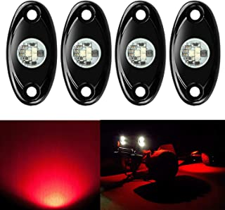 4 Pods LED Rock Lights, Ampper Waterproof LED Neon Underglow Light for Car Truck ATV UTV SUV Jeep Offroad Boat Underbody Glow Trail Rig Lamp (Red)